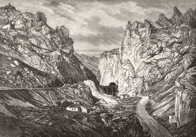 SPAIN. Gorges of Pancorbo c1885 old antique vintage print picture
